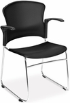 Multi-Use Stack Chair with Plastic Seat and Back with Arms - Black [310-PA-BLK-MFO]