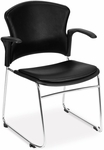 Multi-Use Stack Chair with Anti-Microbial and Anti-Bacterial Vinyl Seat and Back with Arms - Black [310-VAM-A-606-MFO]