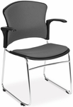 Multi-Use Stack Chair with Fabric Seat and Back with Arms - Gray [310-FA-801-MFO]