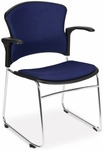 Multi-Use Stack Chair with Fabric Seat and Back with Arms - Navy [310-FA-804-MFO]