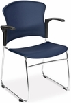 Multi-Use Stack Chair with Plastic Seat and Back with Arms - Navy [310-PA-A11-MFO]