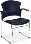 Multi-Use Stack Chair with Anti-Microbial and Anti-Bacterial Vinyl Seat and Back with Arms - Navy [310-VAM-A-605-MFO]