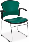 Multi-Use Stack Chair with Anti-Microbial and Anti-Bacterial Vinyl Seat and Back with Arms - Teal [310-VAM-A-602-MFO]