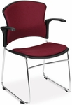 Multi-Use Stack Chair with Fabric Seat and Back with Arms - Wine [310-FA-803-MFO]