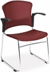 Multi-Use Stack Chair with Plastic Seat and Back with Arms - Wine [310-PA-A10-MFO]