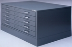 Museum Five Drawer 40.75'' W x 28.38'' D x 15.38'' H File for 24'' x 36'' Sheets - Black [7667S5-FS-MAY]