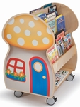 Mushroom Book Display with Book Storage on Two Sides [WB3131-FS-WBR]