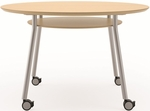 Mystic Series 36'' Round Conference Table with Shelf And Casters [S1936J4-FS-RO]
