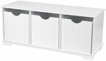 Nantucket Wooden Childs Three Storage Bins with Bench Seating - White [14564-FS-KK]