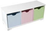 Nantucket Wooden Childs Three Storage Bins with Bench Seating - Pastel [14565-FS-KK]
