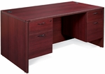 OSP Furniture Napa Scratch Resistant Double Pedestal Desk [NAPTYP4-FS-OS]