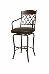 Napa Ridge 26'' Swivel Barstool - Bronze/Buckskin Finish and Shandora Toast Upholstery [NR-219-26-BF-BK-582-FS-PSTL]