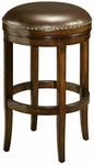 Naples Bay 26''H Backless Swivel Barstool - Distressed Cherry Finish and Leather Ridge Upholstery [QLNB215350985-FS-PSTL]