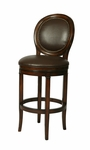 Naples Bay 30'' Swivel Barstool - Distressed Cherry Finish and Leather Ridge Upholstery [QLNB225250985-FS-PSTL]