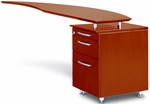 Napoli 63'' Curved Desk Right Return with Pencil-Box-File Pedestal - Sierra Cherry on Cherry Veneer [NRTPRCRY-FS-MAY]