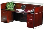 Napoli Reception Station with One Box Box File and One File File Pedestals - Sierra Cherry on Cherry Veneer [NRSBFCRY-FS-MAY]