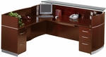 Napoli Reception Station with Return and One Box Box File and One File File Pedestals - Sierra Cherry on Cherry Veneer [NRSLBFCRY-FS-MAY]