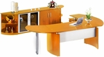 Napoli Series Suite with Left Curved Desk Return - Golden Cherry on Beech Veneer [NT9GCH-FS-MAY]