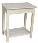 Solid Wood 14''W X 25''H Narrow End Table With Drawer - Unfinished [OT-2214-FS-WHT]