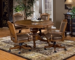 Nassau 5 Piece Classic Design Game Set with Multi Function Wood Table and 4 Caster Arm Chairs - Rich Oak [6060GTBC-FS-HILL]