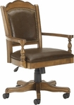 Nassau Height Adjustable Wood Game Chair With Brown Leather Seat - Brown [6060-801-FS-HILL]
