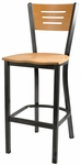 Natural Wood Back Metal Barstool with 3 Slats in Back [6155B-HND]