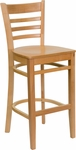 Natural Wood Finished Ladder Back Wooden Restaurant Barstool [BFDH-8241NN-BAR-TDR]