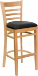 Natural Wood Finished Ladder Back Wooden Restaurant Barstool with Black Vinyl Seat [BFDH-8241NBK-BAR-TDR]