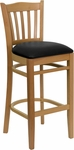 Natural Wood Finished Vertical Slat Back Wooden Restaurant Barstool with Black Vinyl Seat [BFDH-8242NBK-BAR-TDR]