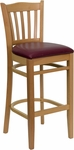 Natural Wood Finished Vertical Slat Back Wooden Restaurant Barstool with Burgundy Vinyl Seat [BFDH-8242NBY-BAR-TDR]