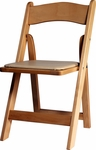 Natural Birch Wood Padded Folding Chair with Vinyl Seat [WFNAT-AS]