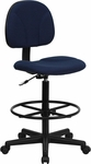 Navy Blue Patterned Fabric Ergonomic Drafting Chair (Adjustable Range 22.5''-27''H or 26''-30.5''H) [BT-659-NVY-GG]