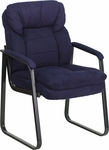 Navy Microfiber Executive Side Chair with Sled Base [GO-1156-NVY-GG]