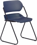 Martisa Armless Plastic Stack Chair - Navy Seat with Black Frame [202-BLK-NAVY-MFO]