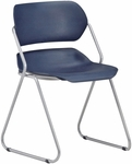 Martisa Armless Plastic Stack Chair - Navy Seat with Silver Frame [202-SLVR-NAVY-MFO]