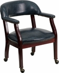 Navy Vinyl Luxurious Conference Chair with Casters [B-Z100-NAVY-GG]