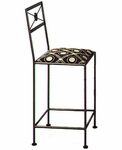 NeoClassic 24''H Wrought Iron Counter Stool with Upholstered Seat [GMC-N-24-FS-GCM]