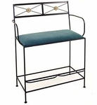 NeoClassic 36'' Wrought Iron Spectator Bench with Arms and Upholstered Seat [GMC-SB28ARM-N-FS-GCM]