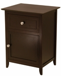 Night Stand with Drawer and Cabinet in Dark Espresso [92815-FS-WWT]