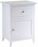 Night Stand with Drawer and Cabinet in White [10115-FS-WWT]