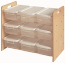 American Made Baltic Birch Toy Organizer with 9 Lidded Bins - Unfinished