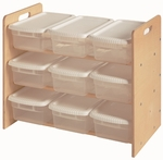 American Made Baltic Birch Toy Organizer with 9 Lidded Bins - Unfinished [068-UNF-FS-LC]