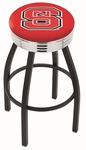 North Carolina State University 25'' Black Wrinkle Finish Swivel Backless Counter Height Stool with Ribbed Accent Ring [L8B3C25NCARST-FS-HOB]