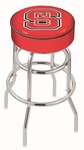 North Carolina State University 25'' Chrome Finish Double Ring Swivel Backless Counter Height Stool with 4'' Thick Seat [L7C125NCARST-FS-HOB]