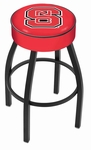North Carolina State University 25'' Black Wrinkle Finish Swivel Backless Counter Height Stool with 4'' Thick Seat [L8B125NCARST-FS-HOB]