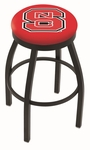 North Carolina State University 25'' Black Wrinkle Finish Swivel Backless Counter Height Stool with Accent Ring [L8B2B25NCARST-FS-HOB]