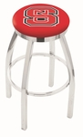 North Carolina State University 25'' Chrome Finish Swivel Backless Counter Height Stool with Accent Ring [L8C2C25NCARST-FS-HOB]