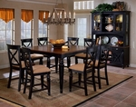 Northern 5 Piece Dining Set with Round Extension Table and 4 Chairs - Black Honey and Cherry [4439DTBC-FS-HILL]