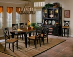 Northern 7 Piece Dining Set with Rectangular Extension Table and 6 Chairs - Black Honey and Cherry [4439DTBC7-FS-HILL]