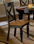 Northern Heights Wood 19''H Dining Chair with Honey Fabric Upholstered Seat - Set of 2 - Black [4439-802W-FS-HILL]
